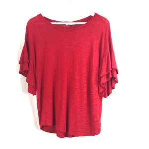 ❤️ 3/$30 vibrant red frill sleeve top